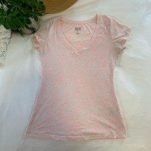 Pink/white sheer top